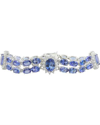 25.20 Carat Tanzanite 14K white Gold Diamond Bracelet