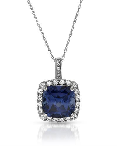 Magnolia Brand New Necklace with 4.41ctw of Precious Stones - diamond, sapphire, and sapphire 10K White gold