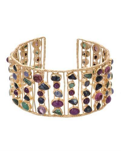 Brand New Bracelet with 63ctw of Precious Stones - emerald, ruby, sapphire, tanzanite, and tourmaline 10K/925 Yellow Gold plated Silver