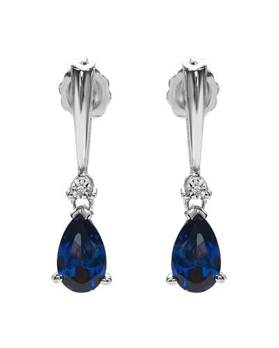 Brand New Earring with 2.02ctw of Precious Stones - diamond and sapphire 925 White sterling silver