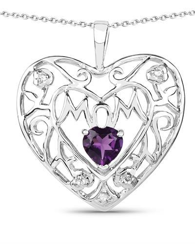 Brand New Necklace with 0.5ctw of Precious Stones - amethyst and topaz 925 Silver sterling silver