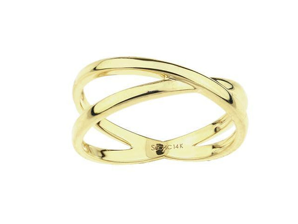 SeChic Brand New Criss Cross Ring in 14K Gold Plated Silver