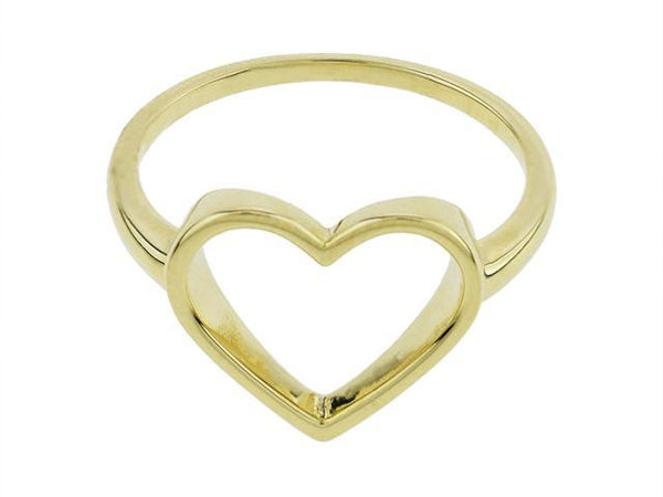 SeChic Brand New Heart Ring in 14K Gold Plated Silver