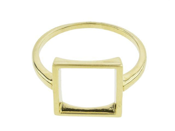 SeChic Brand New Square Ring in 14K Gold Plated Silver