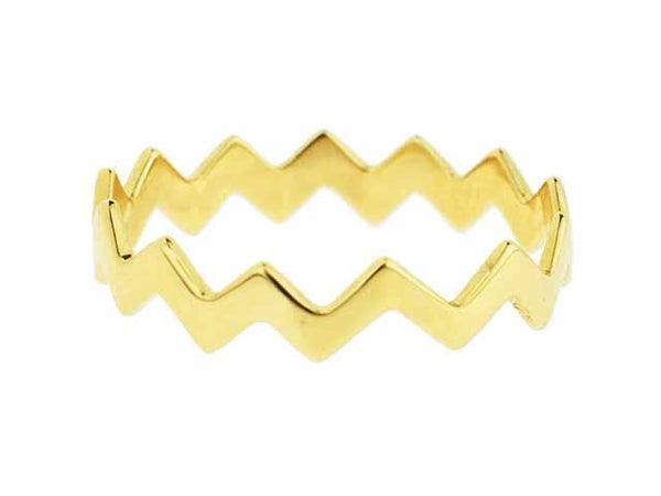 SeChic Brand New ZigZag Ring in 14K Gold Plated Silver