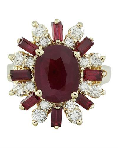 4.25 Carat Ruby 14K Yellow Gold Diamond Ring