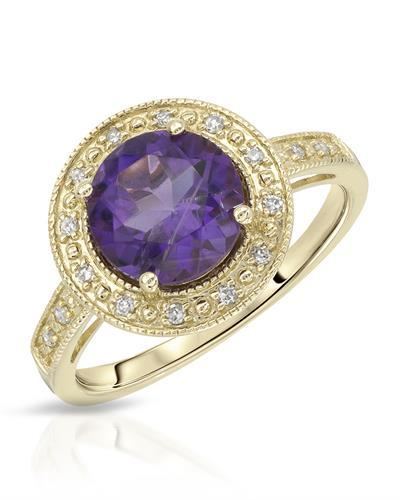 Magnolia Brand New Ring with 1.9ctw of Precious Stones - amethyst and diamond 10K Yellow gold