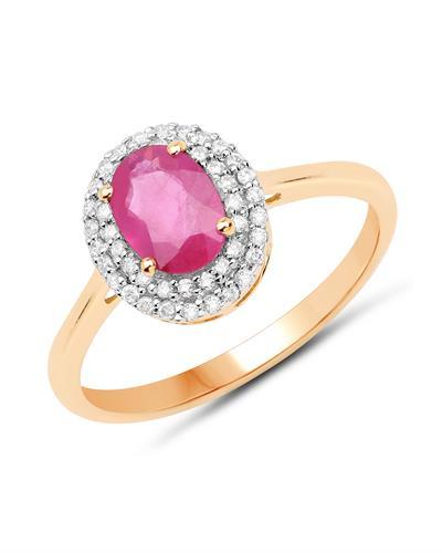 Brand New Ring with 1.13ctw of Precious Stones - diamond and ruby 14K Yellow gold