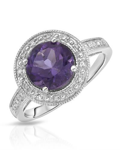 Magnolia Brand New Ring with 2ctw of Precious Stones - amethyst and diamond 10K White gold