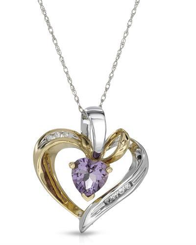 Magnolia Brand New Necklace with 0.76ctw of Precious Stones - amethyst and diamond 10K Two tone gold