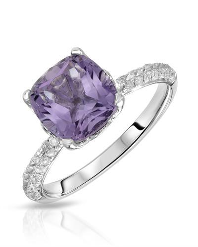 Lundstrom Brand New Ring with 2.29ctw of Precious Stones - amethyst and diamond 14K White gold