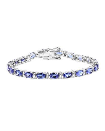 Brand New Bracelet with 9.43ctw of Precious Stones - diamond and tanzanite 14K White gold