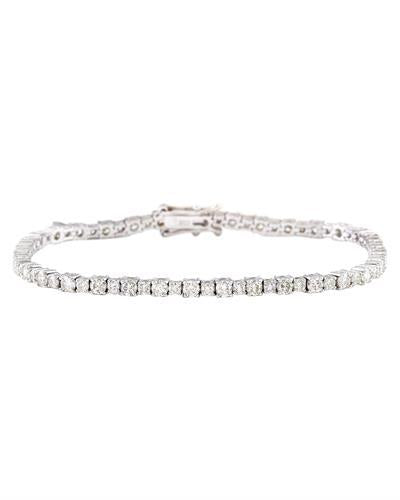 4.07 Carat Natural Diamond 14K Solid White Gold Bracelet