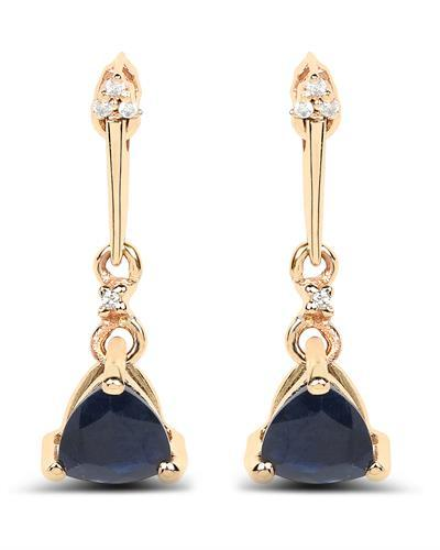 Brand New Earring with 0.92ctw of Precious Stones - diamond and sapphire 14K Yellow gold