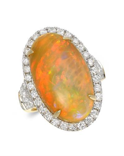 Julius Rappoport Brand New Ring with 12.34ctw of Precious Stones - diamond and opal 18K Yellow gold