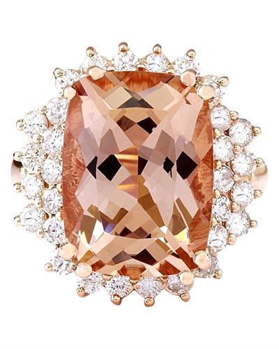 9.38 Carat Natural Morganite 14K Solid Rose Gold Diamond Ring