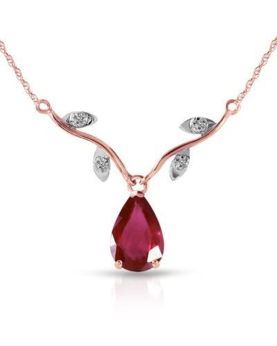 Magnolia Brand New Necklace with 1.52ctw of Precious Stones - diamond and ruby 14K Two tone gold