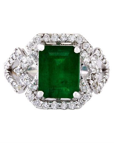 4.43 Carat Natural Emerald 14K Solid White Gold Diamond Ring