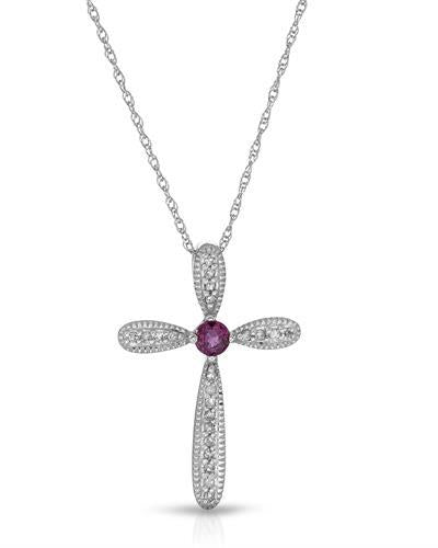 Magnolia Brand New Necklace with 0.19ctw of Precious Stones - diamond and ruby 10K White gold