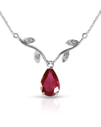 Magnolia Brand New Necklace with 1.52ctw of Precious Stones - diamond and ruby 14K White gold