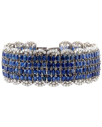 68.50 Carat Natural Sapphire 14K Solid White Gold Diamond Bracelet