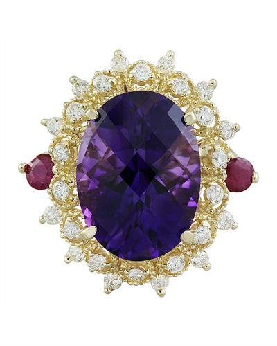 8.60 Carat Amethyst Ruby 14K Yellow Gold Diamond Ring