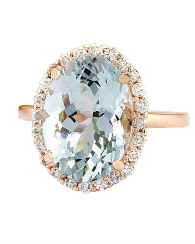 6.45 Carat Natural Aquamarine 14K Solid Rose Gold Diamond Ring