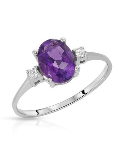 Brand New Ring with 1.12ctw of Precious Stones - amethyst and diamond 10K White gold