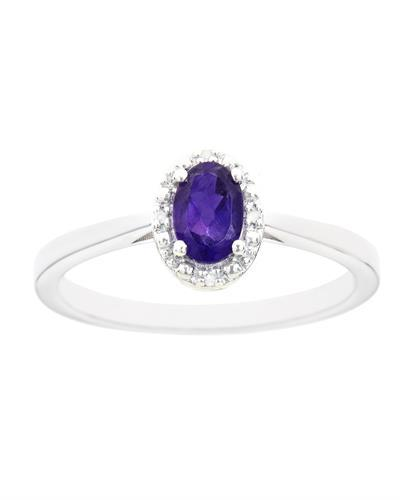 Brand New Ring with 0.46ctw of Precious Stones - amethyst and diamond 925 Silver sterling silver
