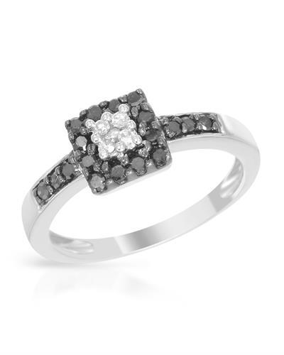 Brand New Ring with 0.33ctw of Precious Stones - diamond and diamond 925 Silver sterling silver