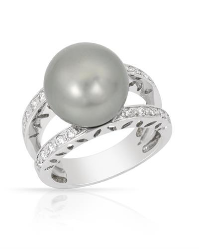 Brand New Ring with 0.3ctw of Precious Stones - diamond and pearl 14K White gold