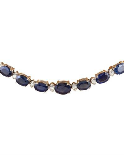 36.00 Carat Natural Sapphire 14K Solid White Gold Diamond Necklace