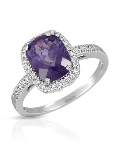 Magnolia Brand New Ring with 1.8ctw of Precious Stones - amethyst and diamond 10K White gold