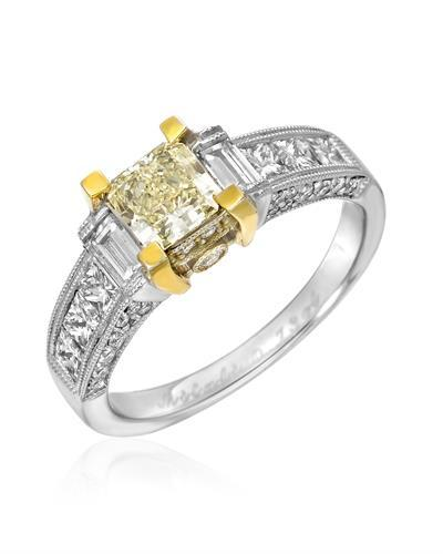 Brand New Ring with 1.94ctw of Precious Stones - diamond, diamond, diamond, and diamond 18K Two tone gold