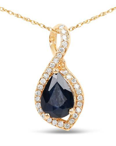 Brand New Necklace with 0.89ctw of Precious Stones - diamond and sapphire 14K Yellow gold