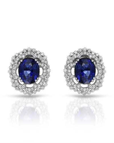 Julius Rappoport Brand New Earring with 9.18ctw of Precious Stones - diamond and sapphire 18K White gold