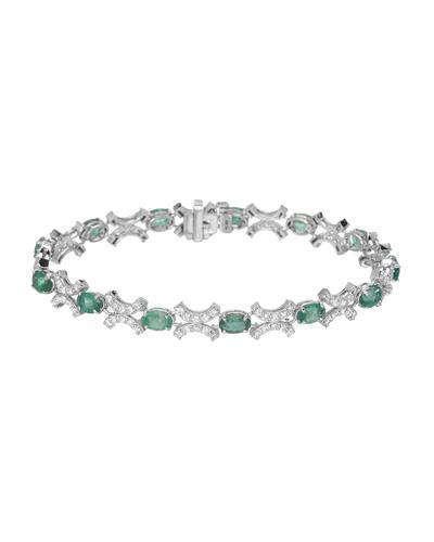 Lundstrom Brand New Bracelet with 7.35ctw of Precious Stones - diamond and emerald 14K White gold
