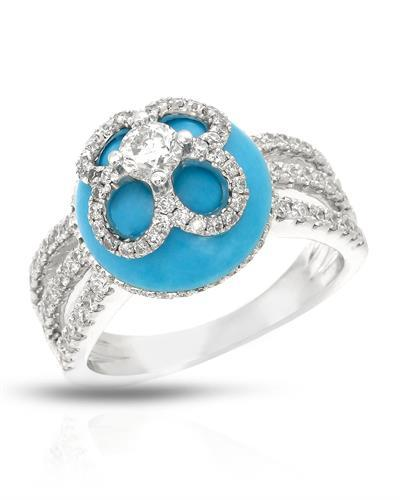 Michael Christoff Brand New Ring with 0.99ctw of Precious Stones - diamond, diamond, and turquoise 18K White gold