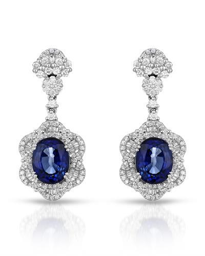 Julius Rappoport Brand New Earring with 9.43ctw of Precious Stones - diamond and sapphire 18K White gold
