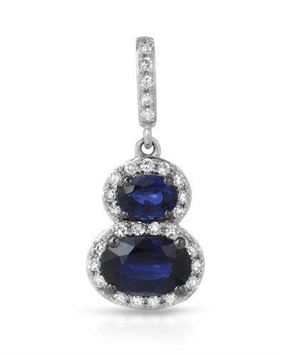Lundstrom Brand New Pendant with 1.05ctw of Precious Stones - diamond and sapphire 14K White gold
