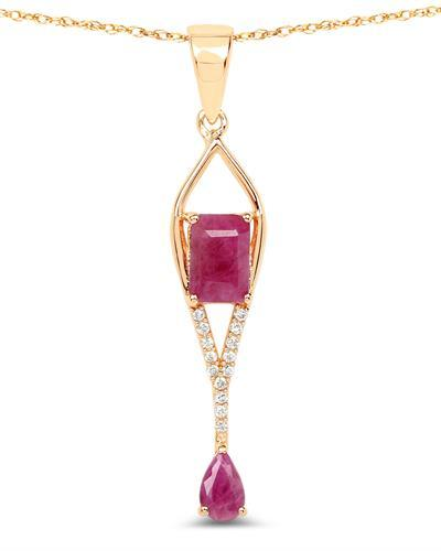 Brand New Necklace with 1.04ctw of Precious Stones - diamond and ruby 14K Yellow gold