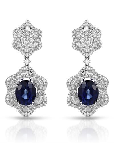 Julius Rappoport Brand New Earring with 12.3ctw of Precious Stones - diamond and sapphire 18K White gold