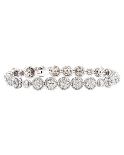 3.75 Carat Natural Diamond 14K Solid White Gold Bracelet