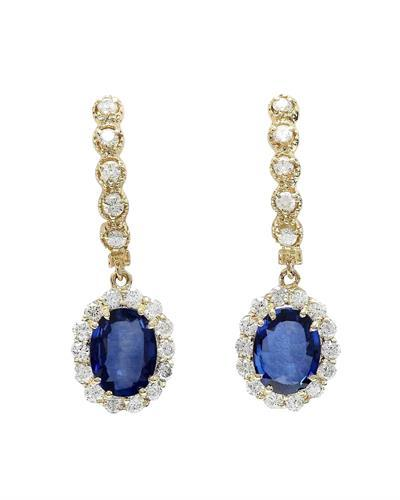 4.77 Carat Natural Sapphire 14K Solid Yellow Gold Diamond Earrings