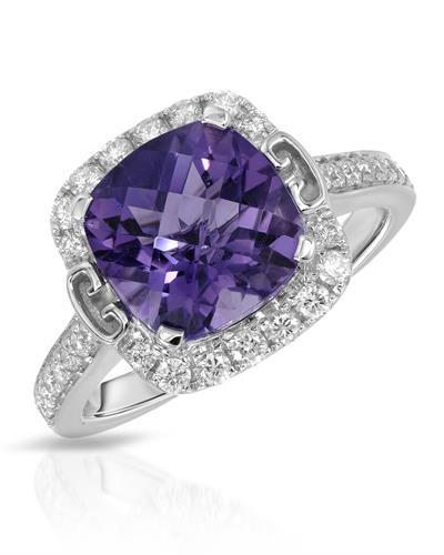 Brand New Ring with 3.3ctw of Precious Stones - amethyst and diamond 14K White gold