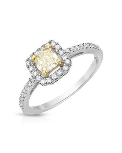 Brand New Ring with 0.81ctw of Precious Stones - diamond and diamond 18K Two tone gold