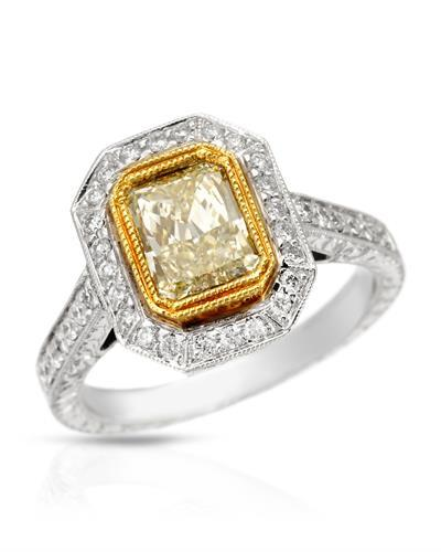 Brand New Ring with 1.79ctw of Precious Stones - diamond and diamond 18K Two tone gold