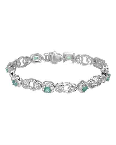 Michael Christoff Brand New Bracelet with 3.68ctw of Precious Stones - diamond and emerald 14K White gold