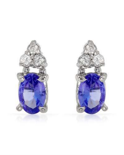 Brand New Earring with 1.12ctw of Precious Stones - diamond and tanzanite 14K White gold