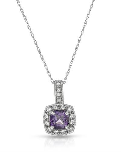 Magnolia Brand New Necklace with 0.66ctw of Precious Stones - amethyst, diamond, and sapphire 10K White gold